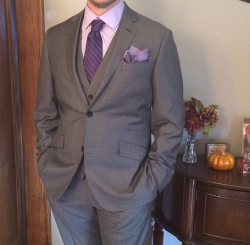 Gray windowpane bespoke suit from black lapel