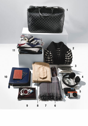 Carry-on bag and its contents