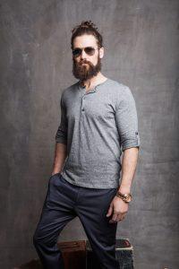 Henley+Dress Pants+Sports Watch