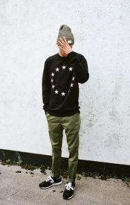Sweater+Beanie+Cuffed Sweatpants