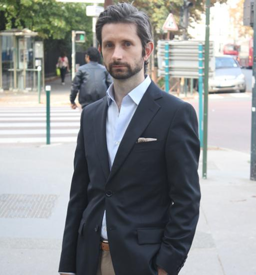 man in navy blazer