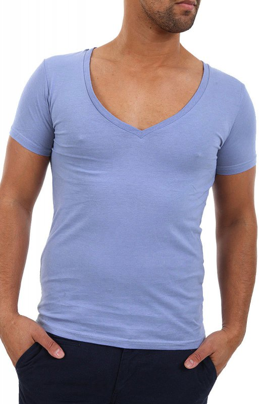 guy Wearing a nipple-showing V-neck