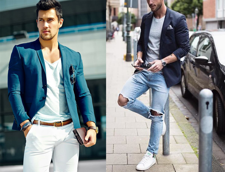 The outfit on the left makes great use of a scoop-neck t-shirt underneath a navy  blazer to show some more skin and give a sexy c04908213