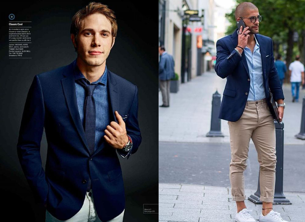 e55abf6154eaa In the above outfits, the navy blazer is paired with lighter blue dress  shirts underneath. This is an important rule-of-thumb when it comes to  layering: try ...